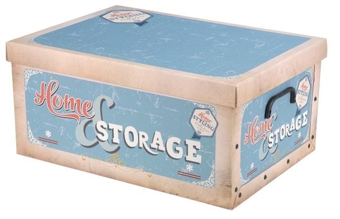 Home collection Úložné krabice Retro 49x39x24cm modrá