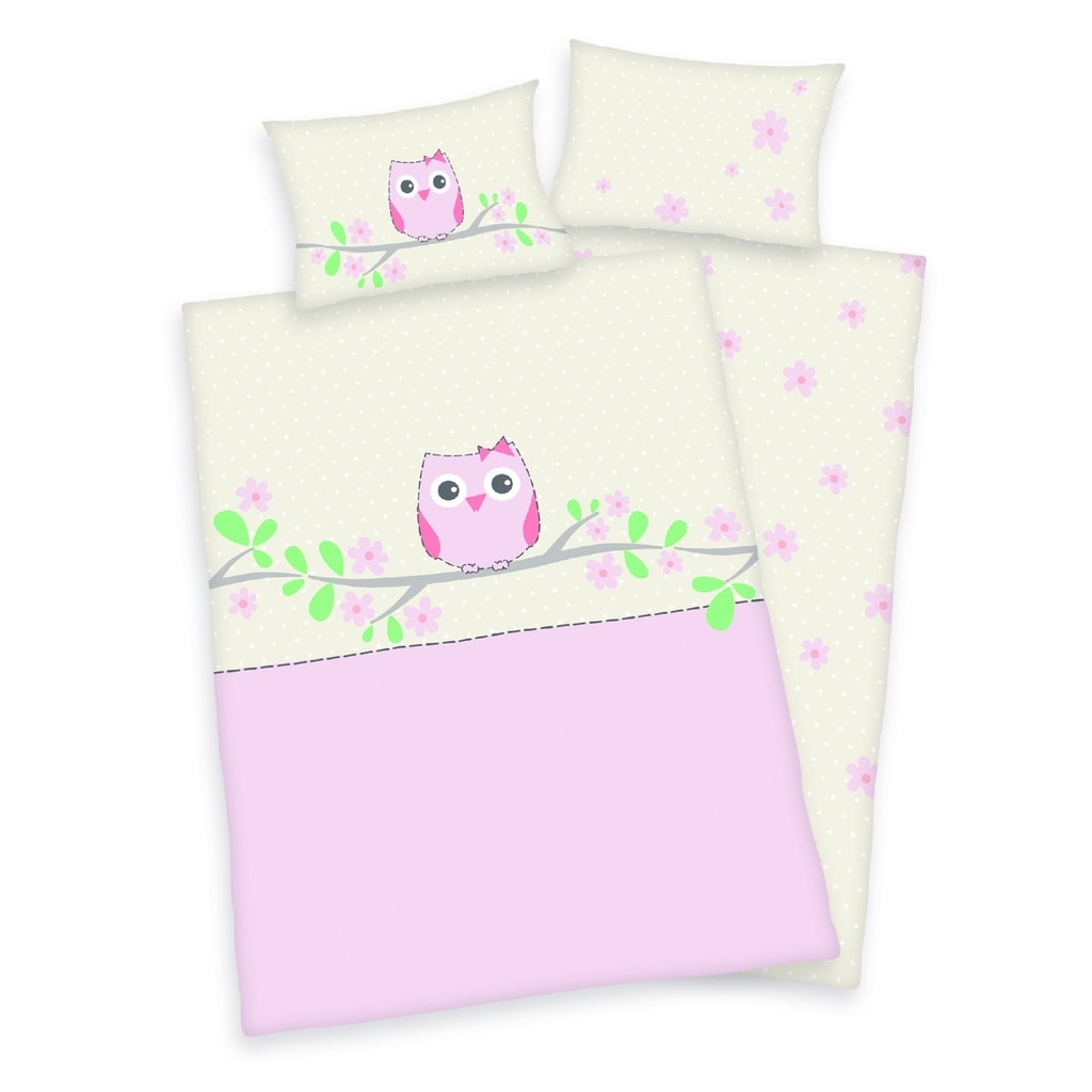 Herding Povlečení pro miminka sovička růžová 135x100,40x60