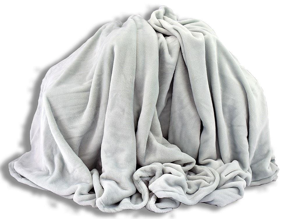 Homeville Homeville deka mikroplyš 150x200 cm světlě šedá s nádechem do zelena