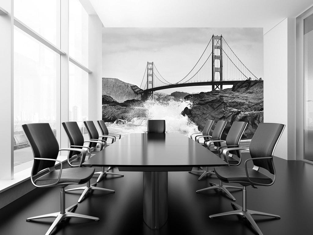 Wizard+Genius W+G vliesová fototapeta Golden Gate Bridge černobílá 366x254 cm