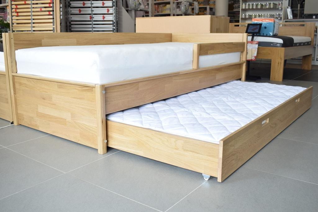 Oak´s Dubová postel Lokken jednolůžko dub průběžný s přistýlkou, přírodní moření, vodní lak - 80x200 cm