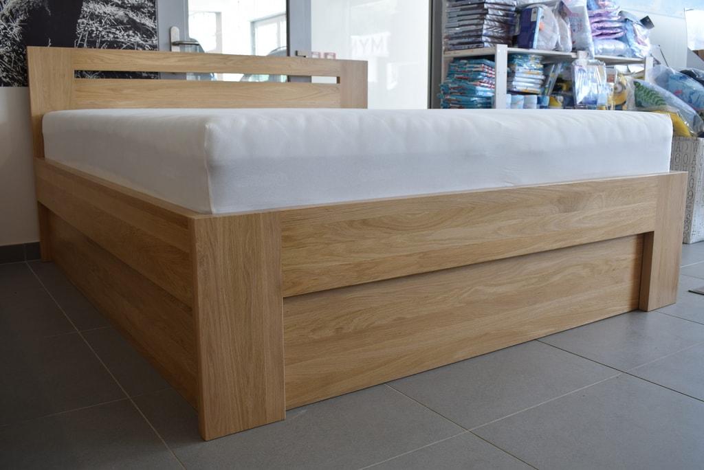 Oak´s Dubová postel Helsingborg dub průběžný, přírodní moření, vodní lak - 140x200 cm