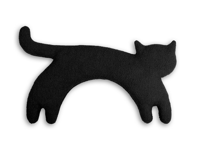 Leschi Hřející polštářek kočka Minina 39x17cm černá/černá