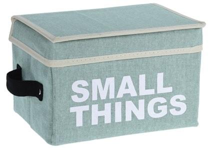Home collection Úložný box s víkem - zelená - Small things 16x24x16 cm