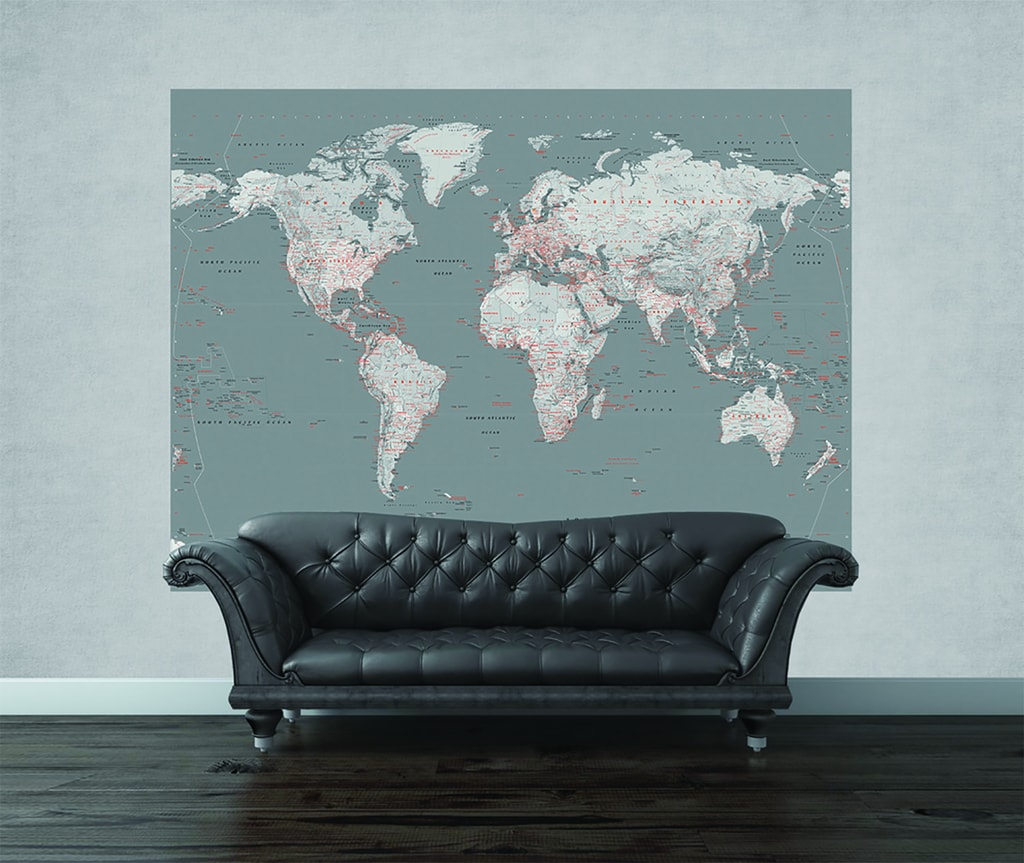 1Wall 1Wall fototapeta Stříbrná mapa 158x232 cm