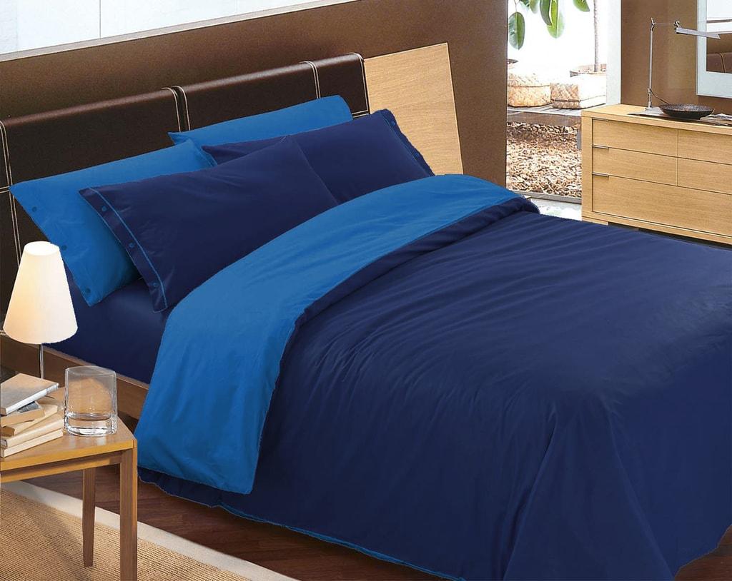 Gipetex Natural Dream Italské povlečení 100% bavlna LUX Doubleface světle/tmavě modrá - 140x220cm / 70x90cm