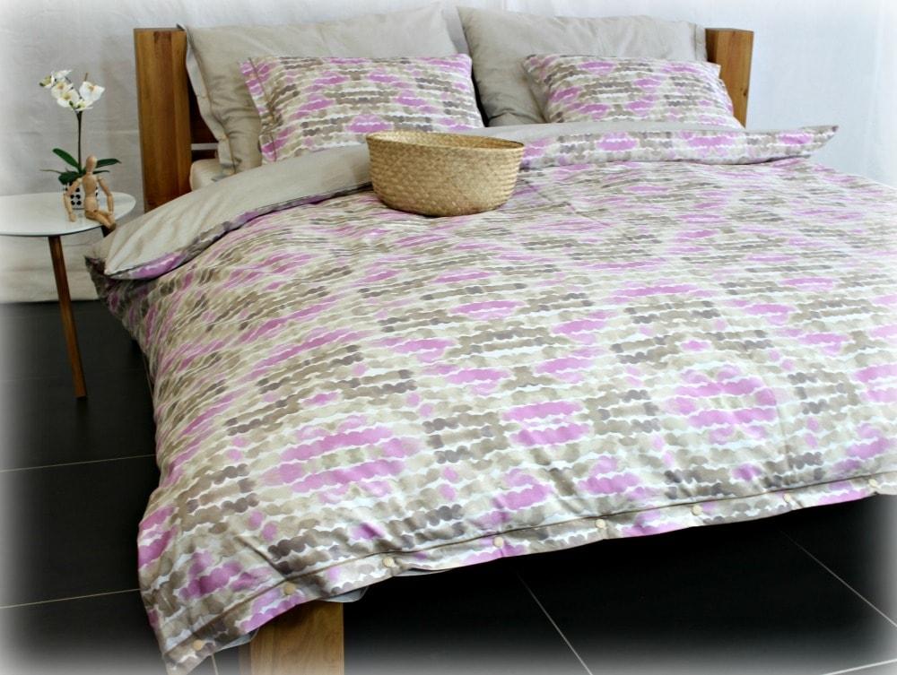 Gipetex Natural Dream Italské povlečení 100% bavlna LUX Acquarello fialková se dvěma povlaky na polštář - 140x200 / 50x70 + 70x90