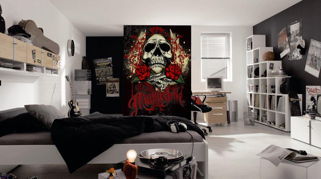 1Wall 1Wall fototapeta Miami Ink Černá lebka 158x232 cm