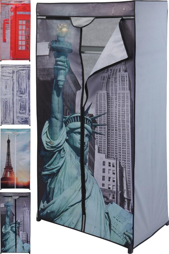 Home collection Textilní skládací skříň 75x45x160cm Young collection - Vintage dveře