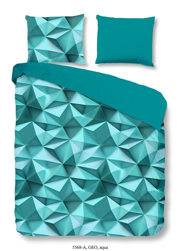 Good Morning 3D povlečení Good Morning 100% bavlna Geo Aqua - 200x200-220 / 2x60x70 cm