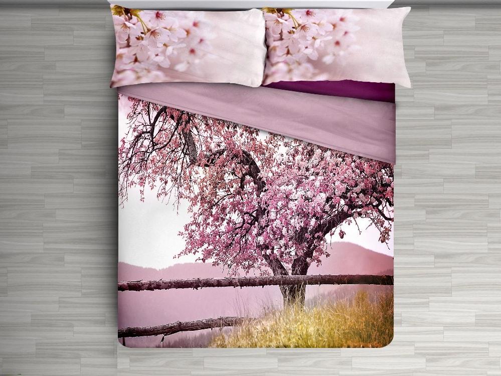 Gipetex Natural Dream 3D italské povlečení 100% bavlna Třešňový strom - 140x220cm / 70x90cm