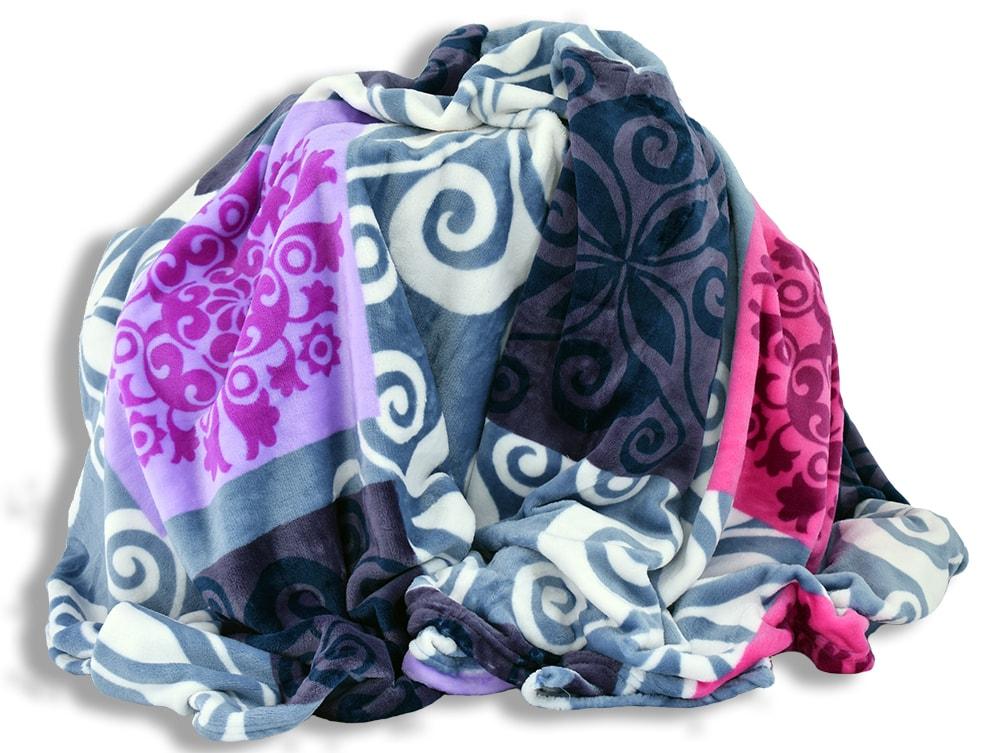 Homeville Homeville deka mikroplyš 150x200 cm čtverce se vzory modrá/fialová