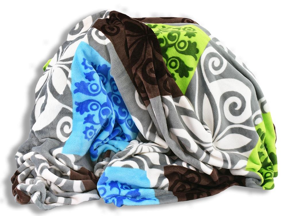 Homeville Homeville deka mikroplyš 150x200 cm čtverce se vzory hnědá/zelená