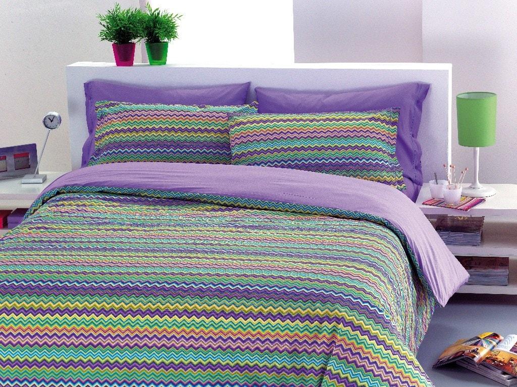 Gipetex Natural Dream Italské povlečení 100% bavlna Baia fialová - 140x200cm / 70x90cm