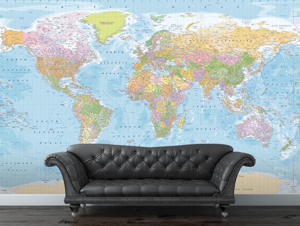 1Wall 1Wall fototapeta Modrá politická mapa světa 315x232 cm