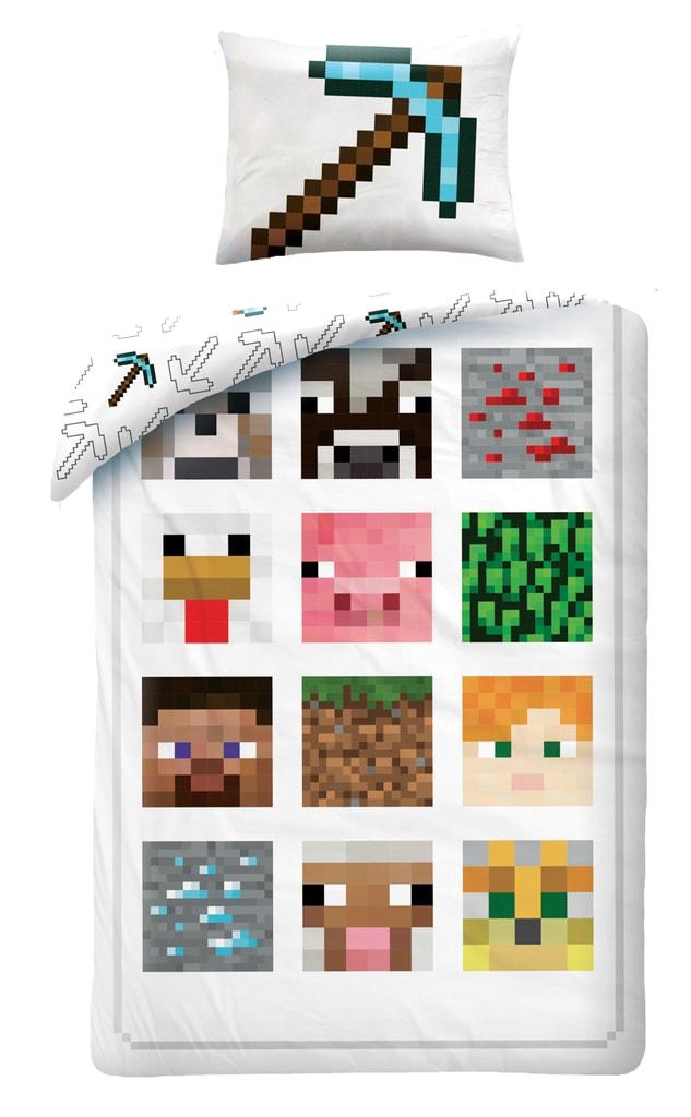Halantex Halantex povlečení Minecraft 012BL bílé 140x200cm + 70x90cm