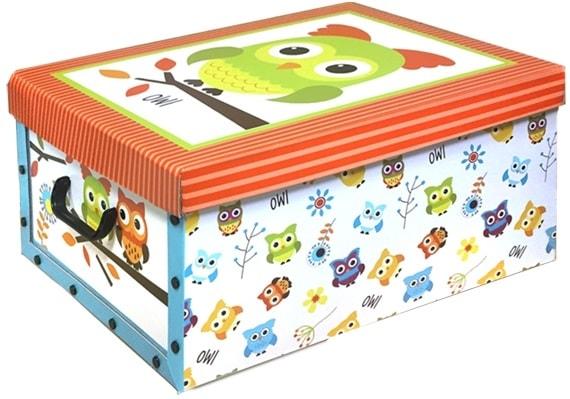 Home collection Úložné krabice 49x39x24cm zelená sova