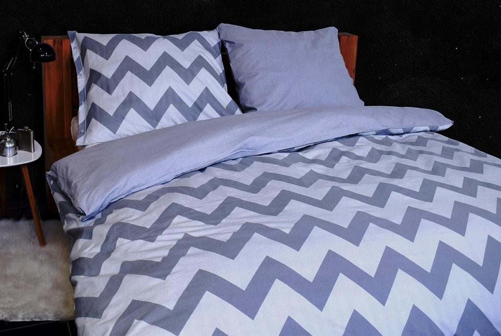 Gipetex Natural Dream Flanelové italské povlečení CHEVRONNE šedá - 140x200cm / 70x90cm