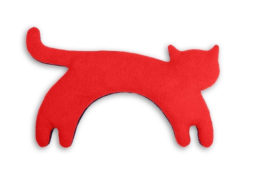 Leschi Hřející polštářek kočka Minina 39x17cm červená/černá