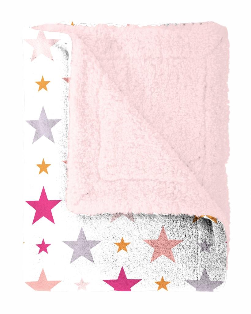 Mistral home Pléd Mistral Home beránek Starry sky růžová hvězdičky 130x170 cm
