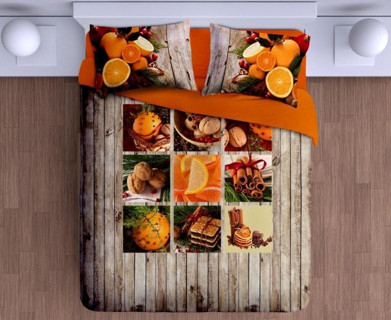 Gipetex Natural Dream 3D italské povlečení 100% bavlna Canella pomeranč & hřebíček - 140x220cm / 70x90cm