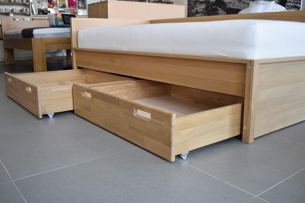 Oak´s Dubová postel Tornby jednolůžko dub cink se zásuvkami, přírodní moření, vodní lak - 80x200 cm