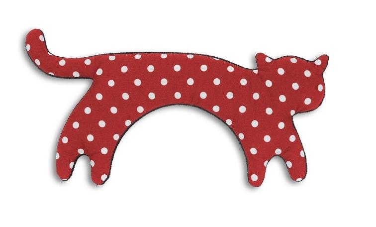 Leschi Hřející polštářek kočka Minina 39x17cm červená s puntíky/černá