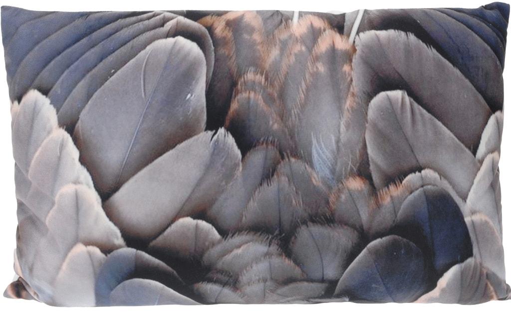 Home collection Dekorační plyšový polštářek s fotopotiskem peříček III 30x50