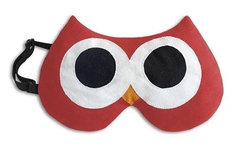 Leschi Maska na spaní sova Stella 20x12cm červená/černá