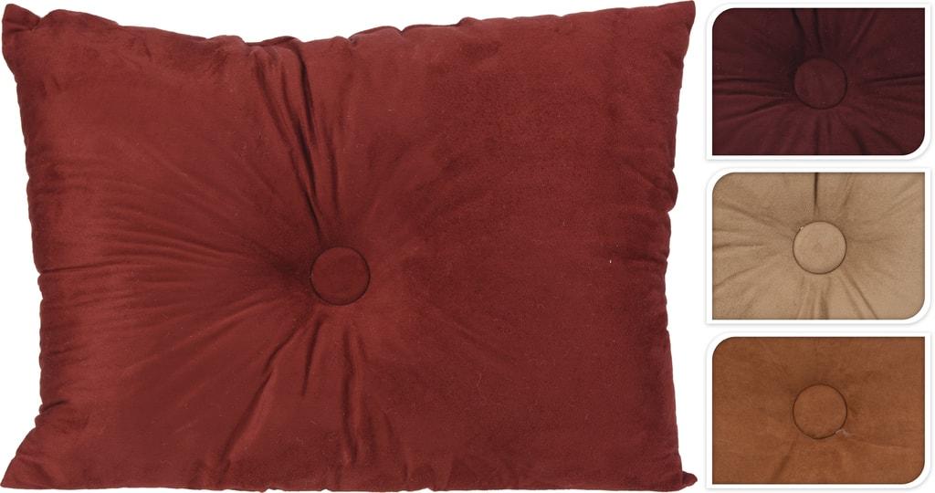 Home collection Dekorační polštářek semišový s knoflíkem 60x45 cm - Vínová