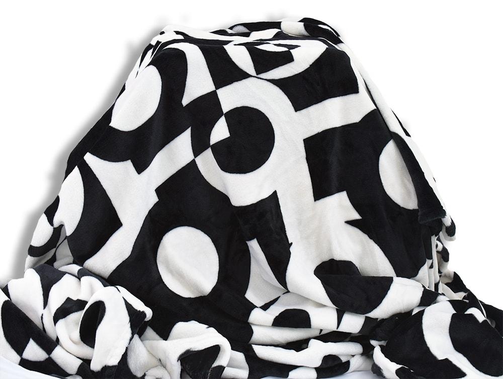 Homeville Homeville deka mikroplyš 150x200 cm černobílá geometrie