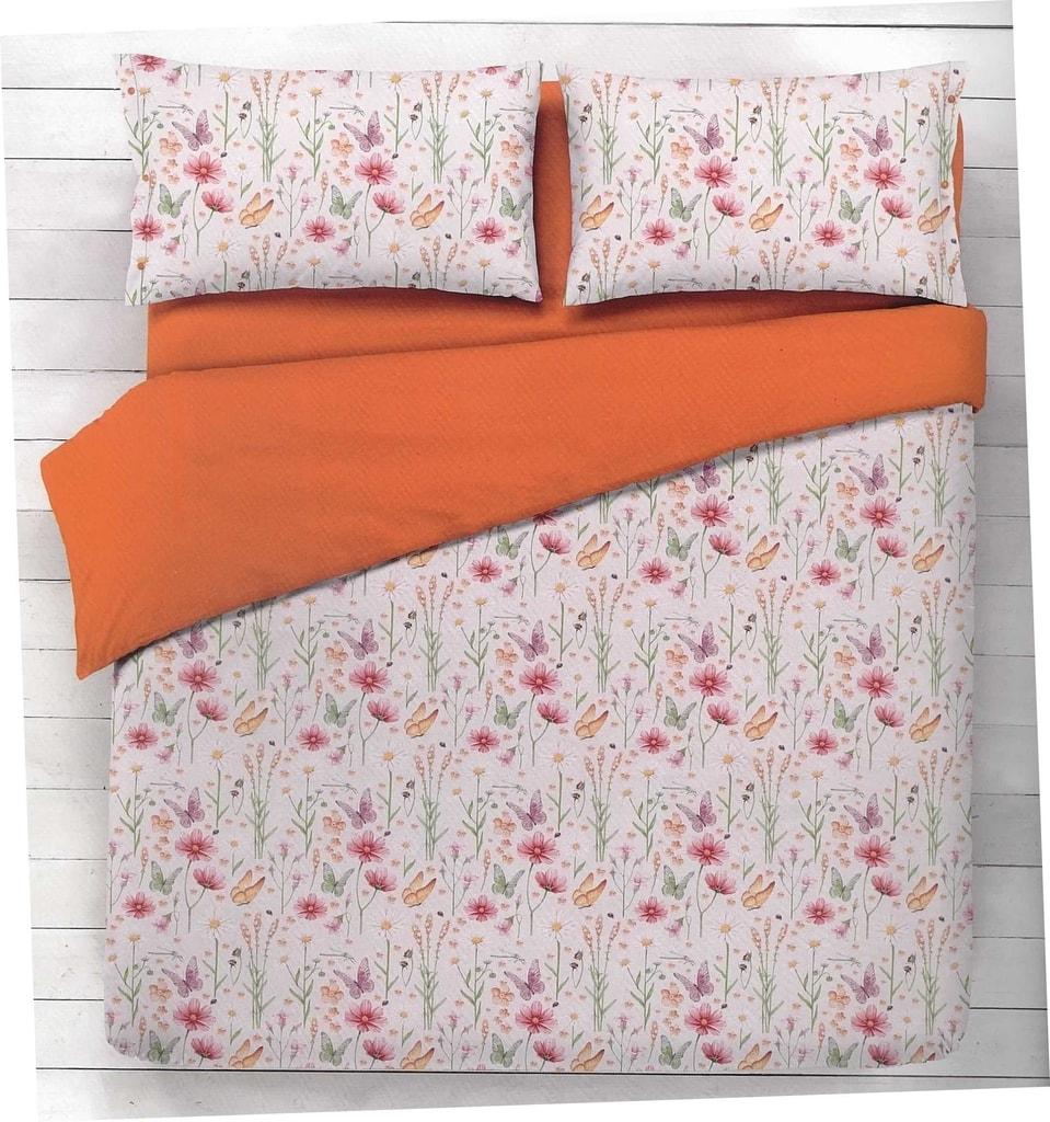 Gipetex Natural Dream Italské povlečení 100% bavlna Flora oranžová - 220x200cm / 70x90cm