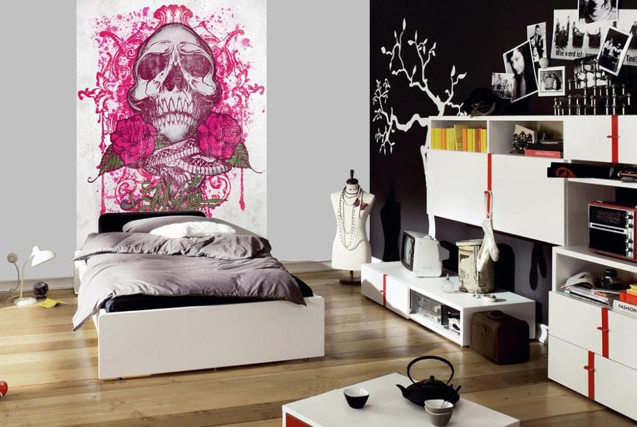 1Wall 1Wall fototapeta Miami Ink Růžová lebka 158x232 cm
