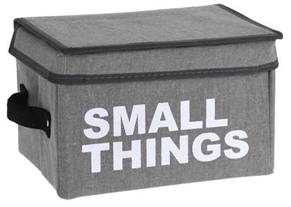 Home collection Úložný box s víkem - šedá - Small things 16x24x16 cm