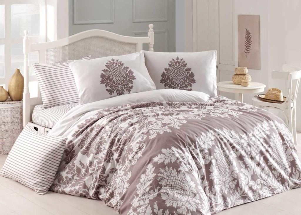 Homeville Povlečení 100% bavlna Purely beige se dvěma povlaky na polštář - 140x200 / 50x70+70x90