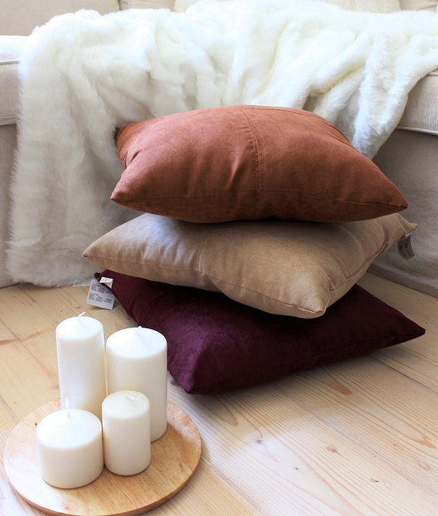 Home collection Dekorační polštářek semišový 45x45 cm - Vínová