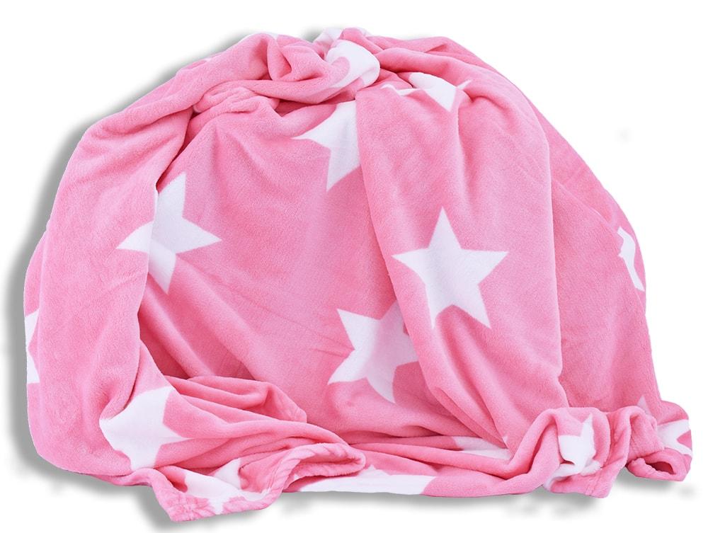 Homeville Homeville deka mikroplyš 150x200 cm hvězdičky růžová