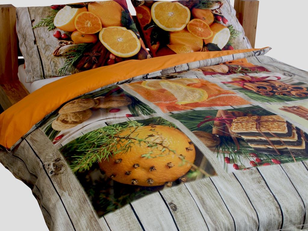 Gipetex Natural Dream 3D italské povlečení 100% bavlna Canella pomeranč & hřebíček - 140x200cm / 70x90cm