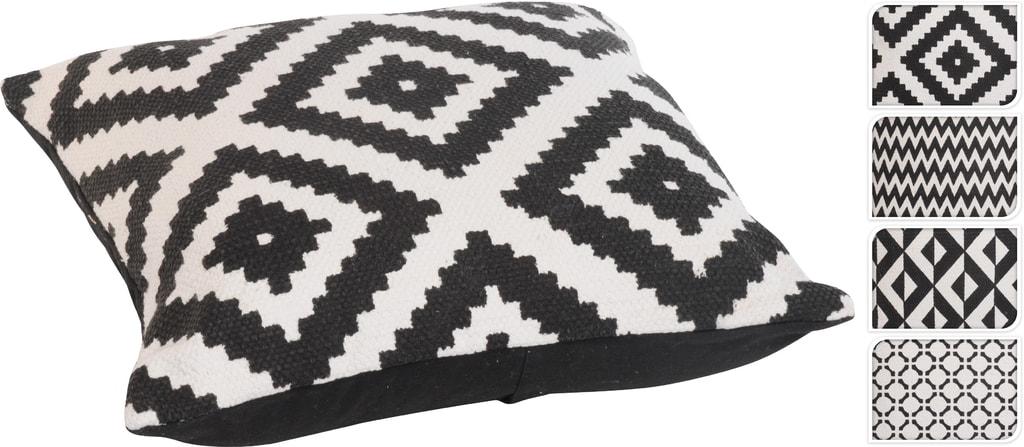 Home collection Tkaný dekorační polštář černo-bílý 45x45 cm - Vzor negativ
