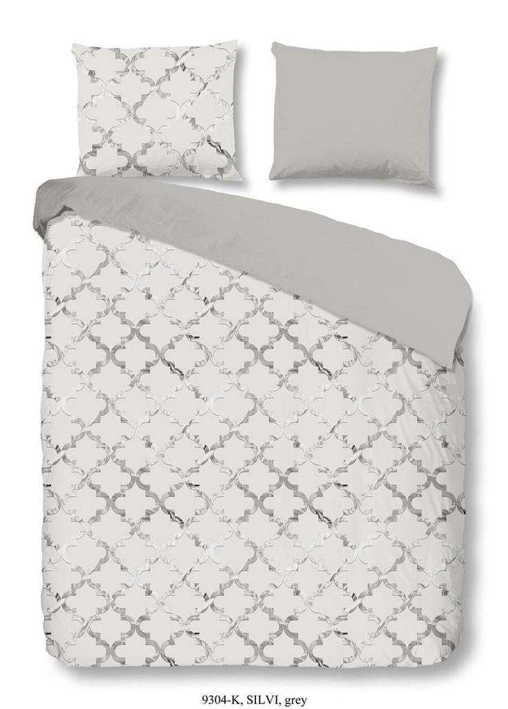 Descanso Luxusní saténové povlečení DESCANSO 9304 Silvi 3D šedé - 200x200-220 / 2x60x70 cm