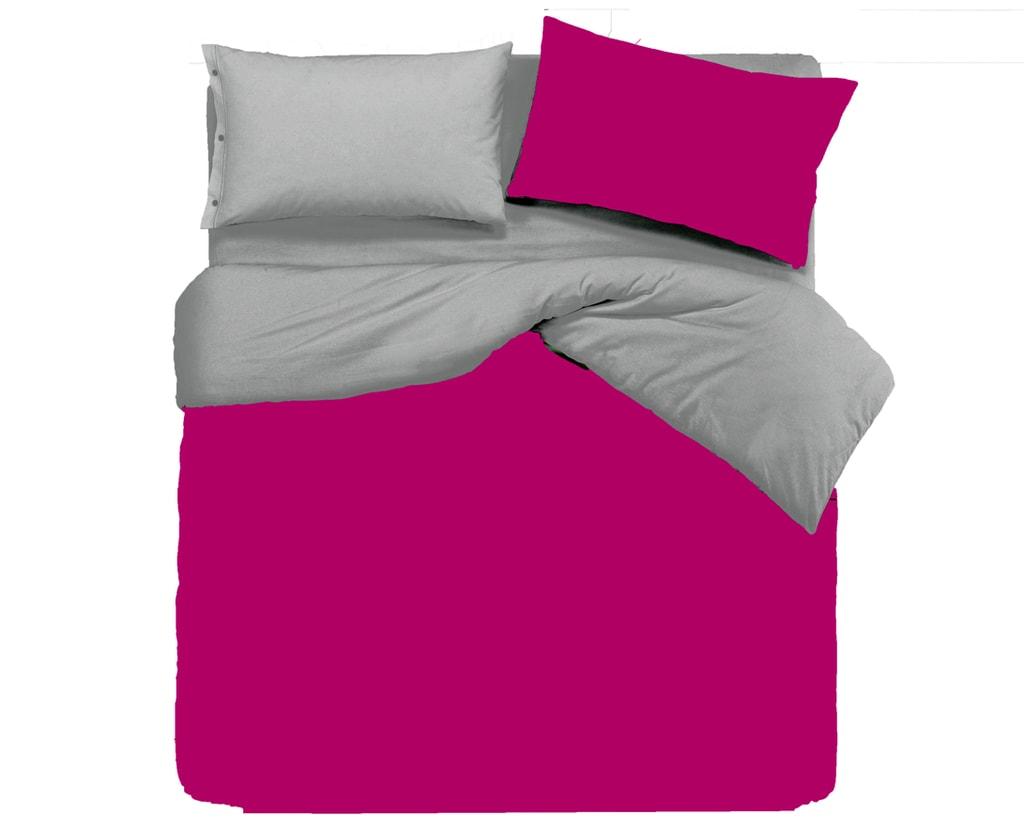 Gipetex Natural Dream Italské povlečení 100% bavlna LUX Doubleface fuchsie-šedá - 140x220cm / 70x90cm