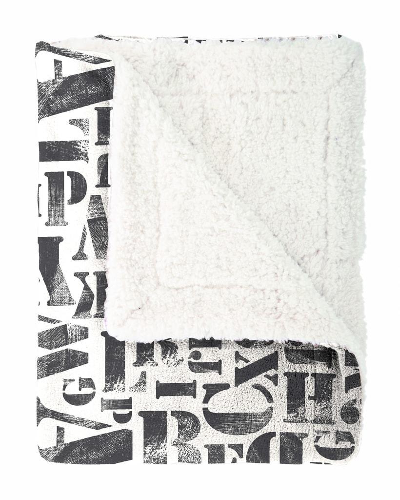 Mistral home Pléd Mistral Home beránek Alphabet černobílá 130x170 cm