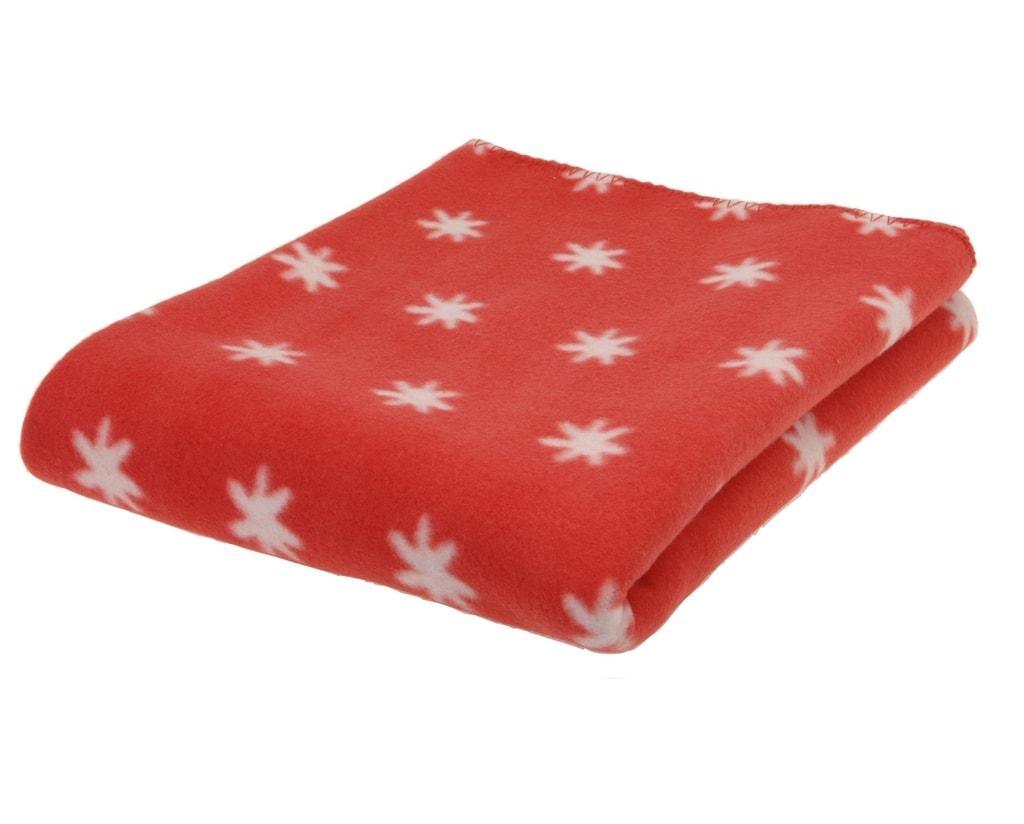 Home collection Vánoční fleecová deka 130x170 cm červená s bílými vločkami