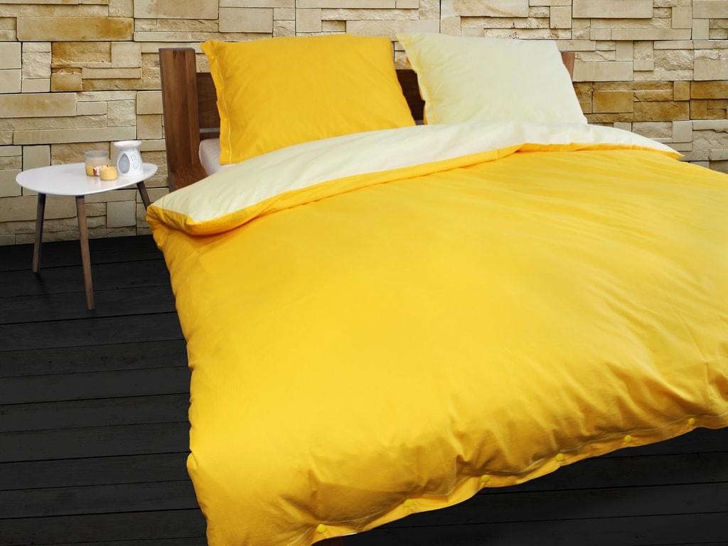 Gipetex Natural Dream Italské povlečení 100% bavlna LUX Doubleface světle/tmavě žlutá - 140x220cm / 70x90cm