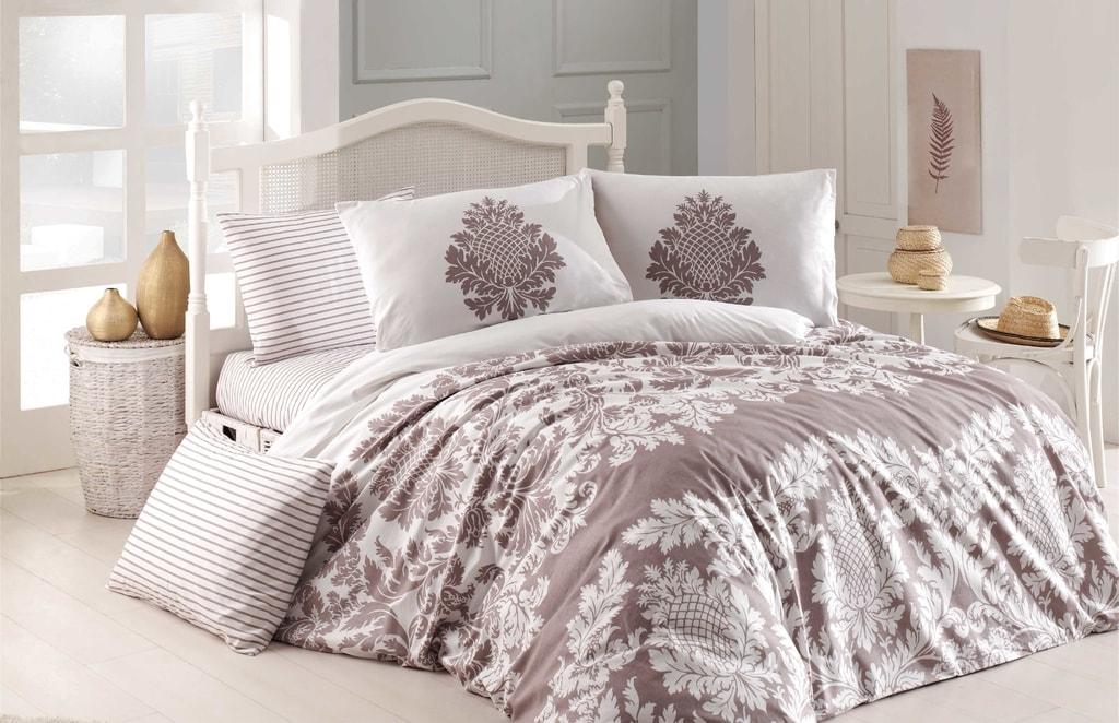 Homeville Povlečení 100% bavlna Purely beige se dvěma povlaky na polštář - 200x220 / 2x50x70 + 2x70x90