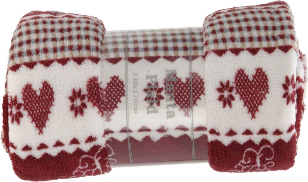 Home collection Plyšový pléd červený srdíčka 130x160cm