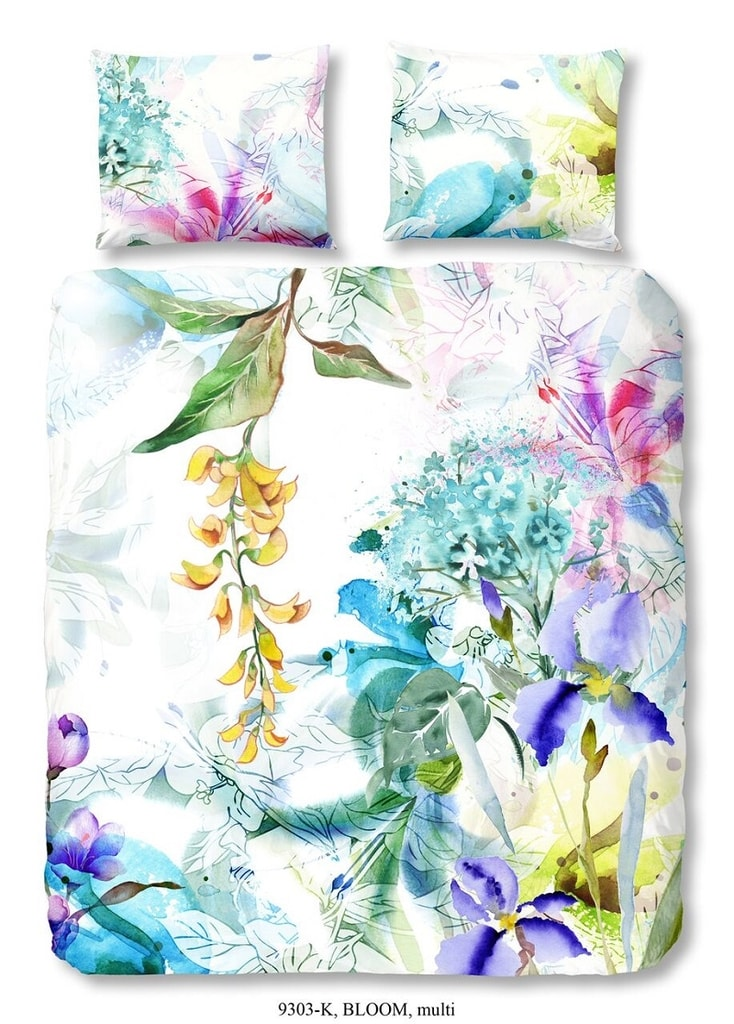 Descanso Luxusní saténové povlečení DESCANSO 9303 Bloom květy - 200x200-220 / 2x60x70 cm