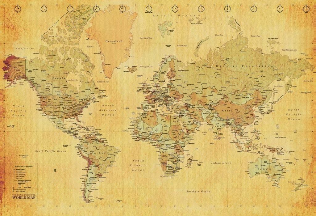 1Wall 1Wall fototapeta Retro mapa 158x232 cm